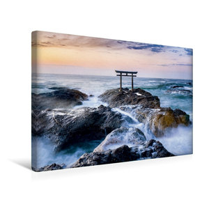 Premium Textil-Leinwand 45 cm x 30 cm quer Japanisches Torii am