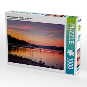 Sonnenuntergang Dresden an der Elbe 1000 Teile Puzzle quer