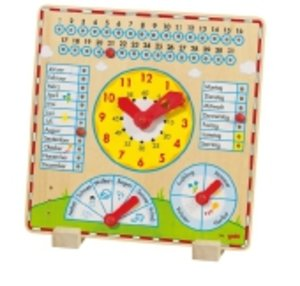 Goki 58888 - Jahresuhr, Kalenderuhr, Holz 35 x 35 cm