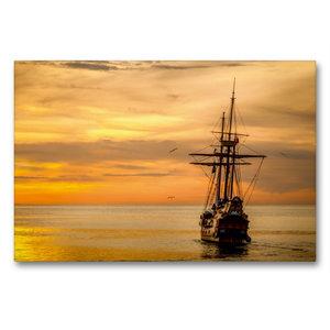 Premium Textil-Leinwand 90 cm x 60 cm quer Boot im Sonnenunterga