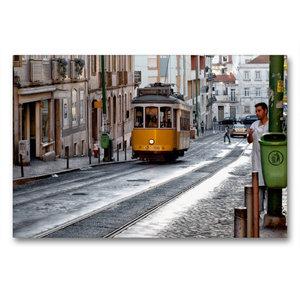 Premium Textil-Leinwand 90 cm x 60 cm quer Lissabon - Linie 21 -