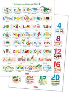 2 Lernposter: Buchstaben und Laute von A bis Z + Zahlen und Meng