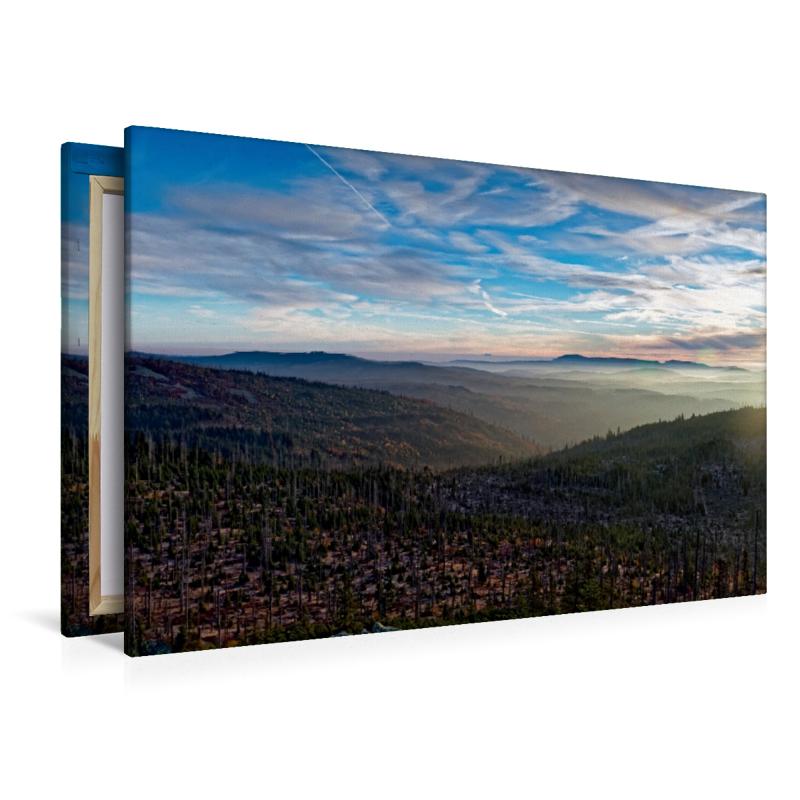 Premium Textil-Leinwand 120 cm x 80 cm quer Sonnenuntergang am L - zum Schließen ins Bild klicken