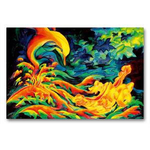 Premium Textil-Leinwand 90 cm x 60 cm quer Geflügelter Herbst