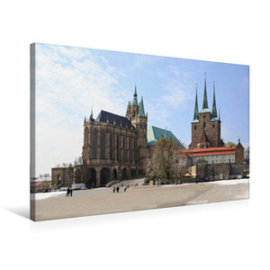 Premium Textil-Leinwand 75 cm x 50 cm quer Erfurter Dom im Winte