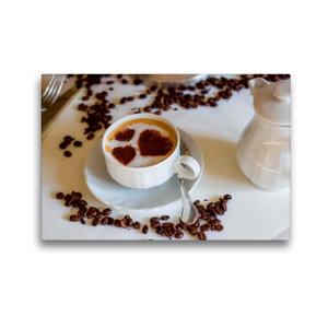 Premium Textil-Leinwand 45 cm x 30 cm quer Kaffee mit Herz