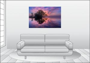 Premium Textil-Leinwand 120 cm x 80 cm quer Sonnenaufgang am gro