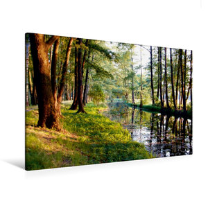 Premium Textil-Leinwand 120 cm x 80 cm quer Fließ im Spreewald