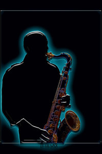 Premium Textil-Leinwand 30 cm x 45 cm hoch Saxophonist