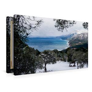 Premium Textil-Leinwand 90 cm x 60 cm quer Winterstimmung mit Sc