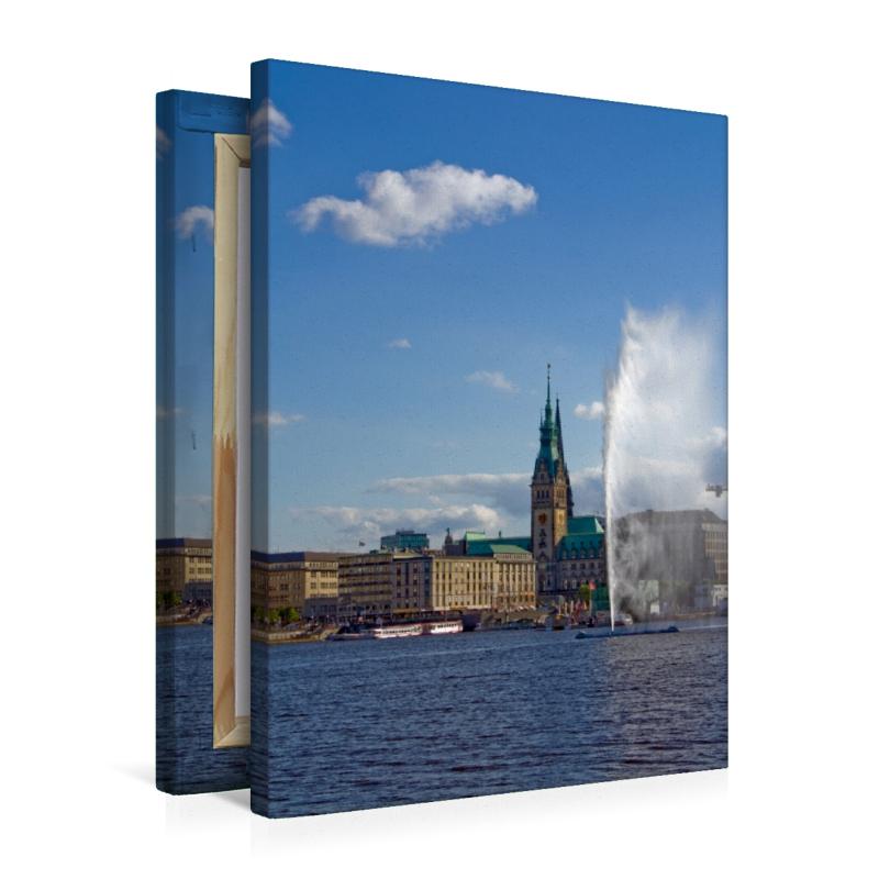 Premium Textil-Leinwand 50 cm x 75 cm hoch Wandbild Alsterfontän - zum Schließen ins Bild klicken