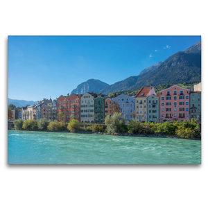 Premium Textil-Leinwand 120 cm x 80 cm quer Bunte Häuser am Inn