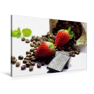 Premium Textil-Leinwand 90 cm x 60 cm quer Rote Erdbeeren mit Sc