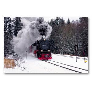 Premium Textil-Leinwand 90 cm x 60 cm quer Brockenbahn