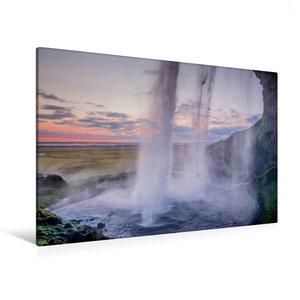 Premium Textil-Leinwand 120 cm x 80 cm quer Wasserfall Seljaland