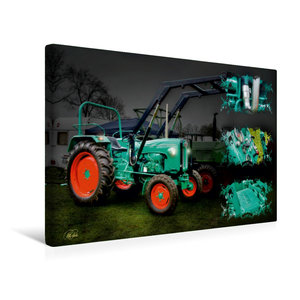Premium Textil-Leinwand 45 cm x 30 cm quer Oldtimer Traktor Kram