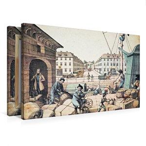Premium Textil-Leinwand 75 cm x 50 cm quer Packhof (Handel/Verke