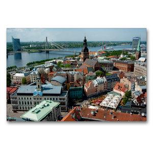 Premium Textil-Leinwand 90 cm x 60 cm quer Riga