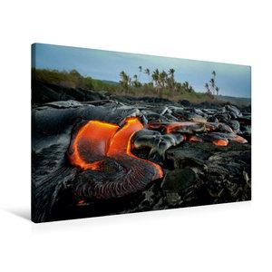 Premium Textil-Leinwand 90 cm x 60 cm quer Lava und Kokospalmen