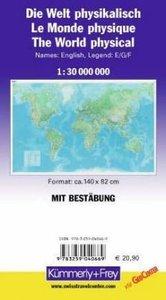 KuF Die Welt, physische Karte 1 : 30 000 000, plano