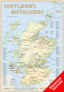 Scotland's Distilleries Poster 100 x 70cm (incl. a set of poster