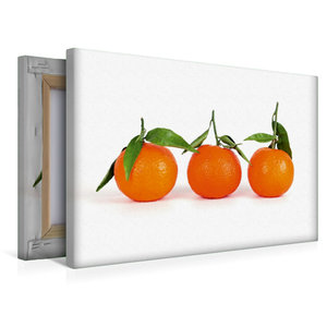 Premium Textil-Leinwand 45 cm x 30 cm quer Drei Mandarinen