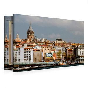 Premium Textil-Leinwand 75 cm x 50 cm quer Skyline mit Galatatur
