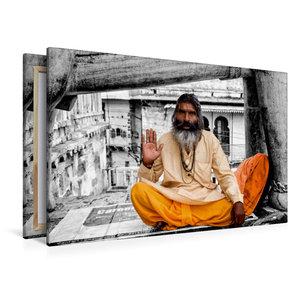 Premium Textil-Leinwand 120 cm x 80 cm quer Indien - heiliger Ma