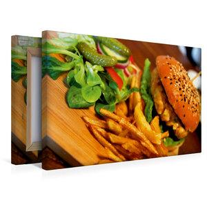 Premium Textil-Leinwand 45 cm x 30 cm quer Hamburger mit Pommes