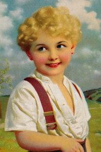 Premium Textil-Leinwand 60 cm x 90 cm hoch Blonder Junge