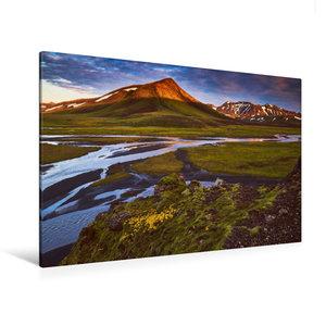 Premium Textil-Leinwand 120 cm x 80 cm quer Island bei Sonnenauf