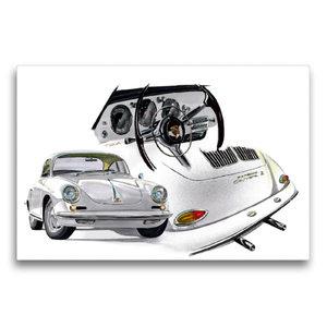 Premium Textil-Leinwand 75 cm x 50 cm quer Porsche 356 Carrera
