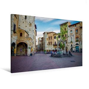 Premium Textil-Leinwand 120 cm x 80 cm quer San Gimignano Brunne