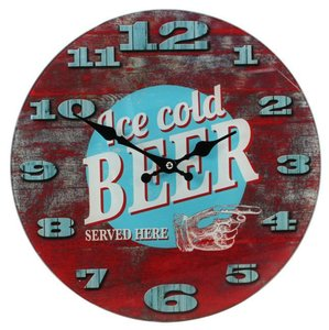 "Wanduhr Glas ""Cold Beer\"""