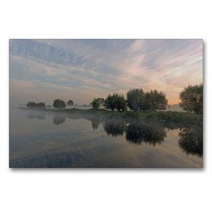 Premium Textil-Leinwand 90 cm x 60 cm quer Nebelzauber am Elbe L