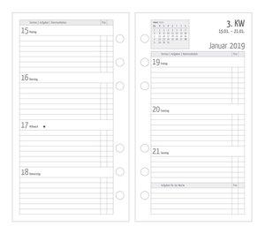 Timer Ersatzkalendarium A6 Kompakt 1 Woche - 2 Seiten 2019