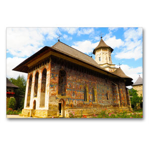 Premium Textil-Leinwand 90 cm x 60 cm quer Kloster Moldovita