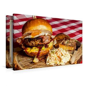 Premium Textil-Leinwand 90 cm x 60 cm quer Rustikaler Hamburger