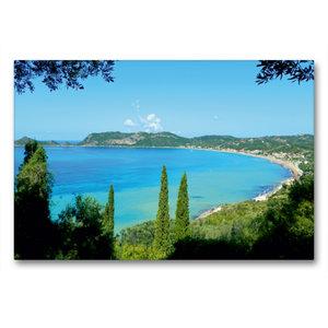 Premium Textil-Leinwand 90 cm x 60 cm quer Bucht von Ágios Geórg