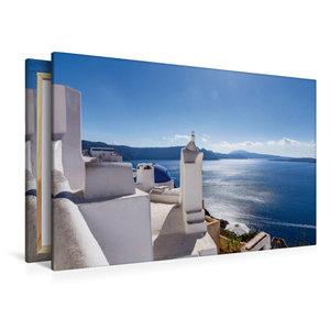 Premium Textil-Leinwand 120 cm x 80 cm quer Oia - Sonnenstrahlen