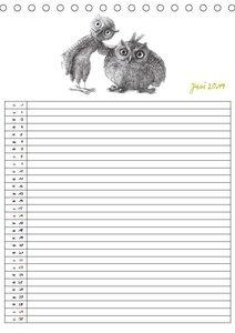 Tieronisch Eulen (Tischkalender 2019 DIN A5 hoch)