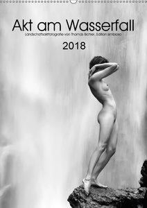 Akt am Wasserfall (Wandkalender 2018 DIN A2 hoch)