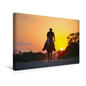 Premium Textil-Leinwand 45 cm x 30 cm quer Ein Cowboy reitet in