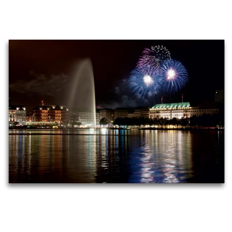 Premium Textil-Leinwand 120 cm x 80 cm quer Dom Feuerwerk - zum Schließen ins Bild klicken