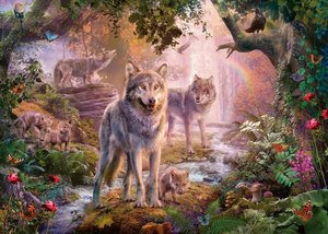 Wolfsfamilie im Sommer