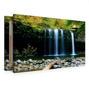 Premium Textil-Leinwand 75 cm x 50 cm quer Wasserfall im Dschung