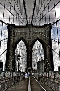 Premium Textil-Leinwand 60 cm x 90 cm hoch Brooklyn Bridge