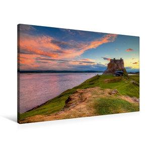 Premium Textil-Leinwand 90 cm x 60 cm quer Lindisfarne Castle -