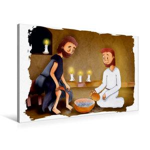 Premium Textil-Leinwand 90 cm x 60 cm quer Jesus wäscht seinen J