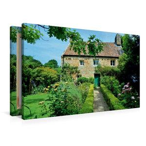 Premium Textil-Leinwand 90 cm x 60 cm quer Haus mit Garten auf J